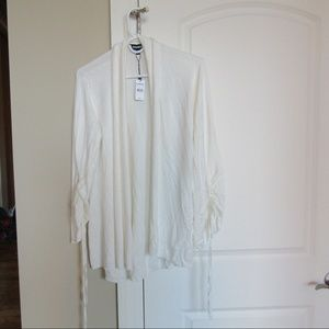 SOLD Express Slouchy White Tie Sleeve Cardigan